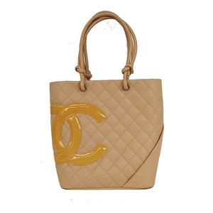 Auth Chanel Tote Bag Ligne Cambon Beige