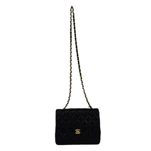 Auth Chanel Matelasse Single Chain Shoulder Bag Black