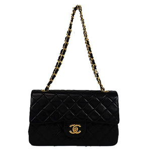 Auth Chanel Matelasse W-chain Shoulder Bag Black