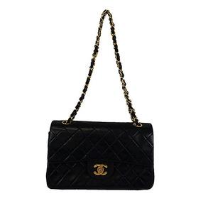 Auth Chanel Matelasse  W-flap W-chain Shoulder Bag Black