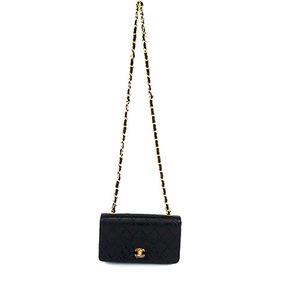 Auth Chanel Matelasse Single Chain Shoulder Bag Black lambskin