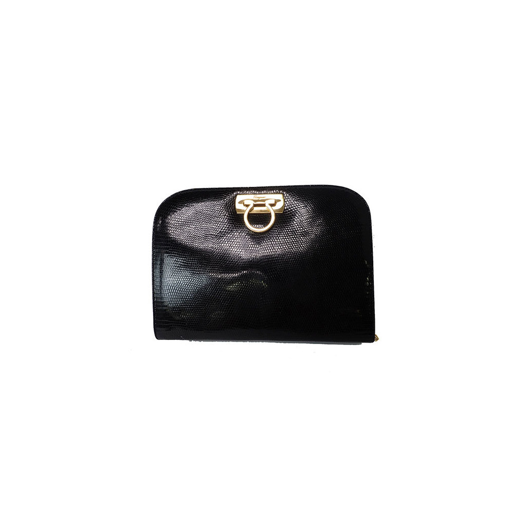 Auth Salvatore Ferragamo Gancini P215281 Women s Leather Shoulder Bag Black c569965db9a4c