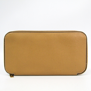 Valextra Unisex Leather Long Wallet (bi-fold) Beige