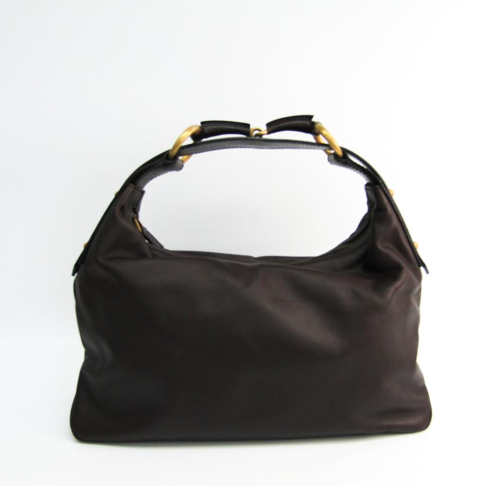 1956fdc2b5e Gucci Horsebit 115867 Women s Leather Shoulder Bag Dark Brown