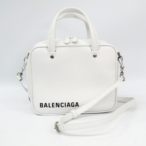 Balenciaga Triangle Square XS 513995 Women's Leather Handbag White