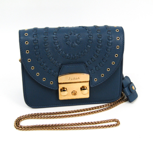 Furla Metropolis Round Women's Leather Shoulder Bag Blue