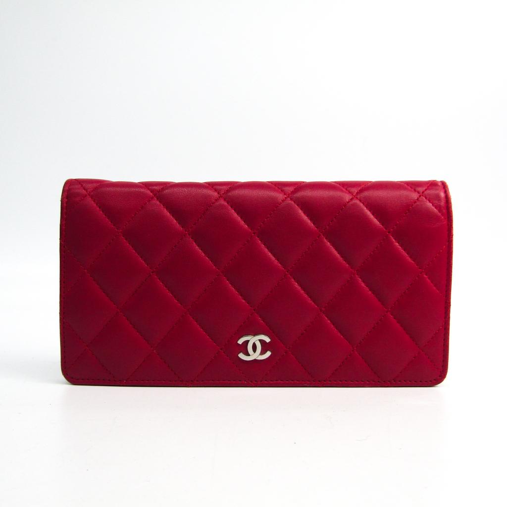 0ddca6324e01 Chanel Matelasse A31509 Women's Lambskin Long Wallet (bi-fold) Pink BF330425