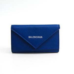 Balenciaga Unisex Leather Key Case Blue 499204