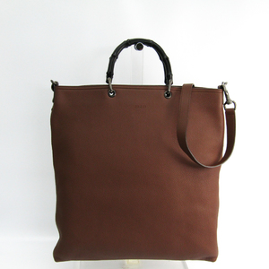 Gucci Bamboo 358217 Men's Leather Tote Bag Brown