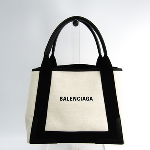 Balenciaga Navy Cabas S 339933 Unisex Canvas,Leather Tote Bag Black,Ivory