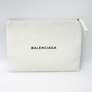 Balenciaga Shopping Clip M485110 Women's Leather Clutch Bag White