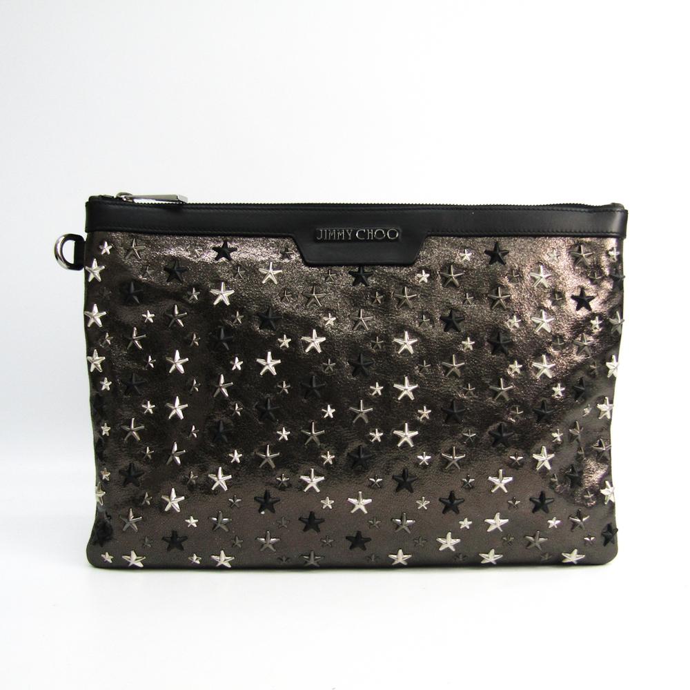 Jimmy Choo DEREK J000095063001 Men's Leather Clutch Bag Black,Metallic