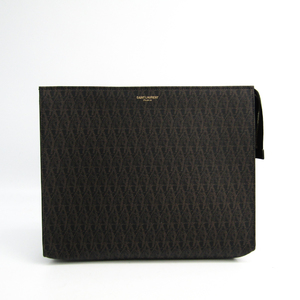 Saint Laurent Classical Tow Monogram 460884 Unisex PVC Clutch Bag Black,Dark Brown