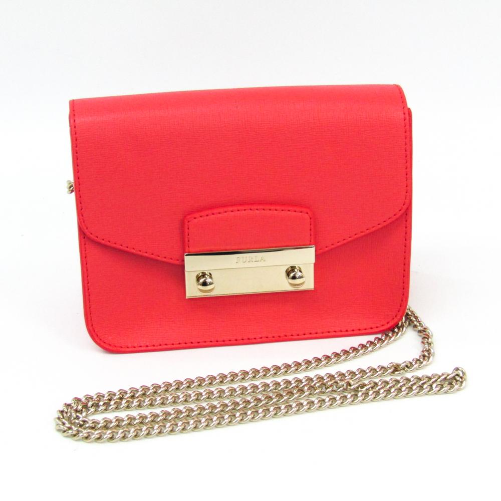 Furla Metropolis Julia Women's Leather Shoulder Bag Coral Pink