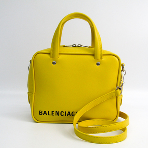 Balenciaga Triangle Square XS 528544 Women's Leather Handbag,Shoulder Bag Yellow