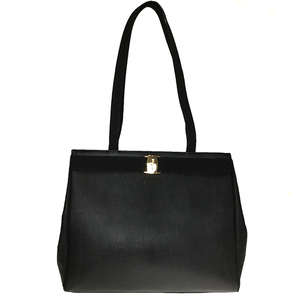 Salvatore Ferragamo Vara AU-21-2530 Leather Shoulder Bag Black