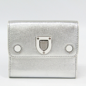 Christian Dior Diorama Women's Leather Wallet (tri-fold) Silver