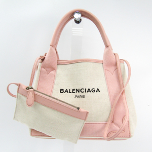 Balenciaga Navy Cabas XS 390346 Women's Canvas,Leather Handbag Ivory,Light Pink
