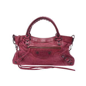 Balenciaga Fast Leather Handbag Red