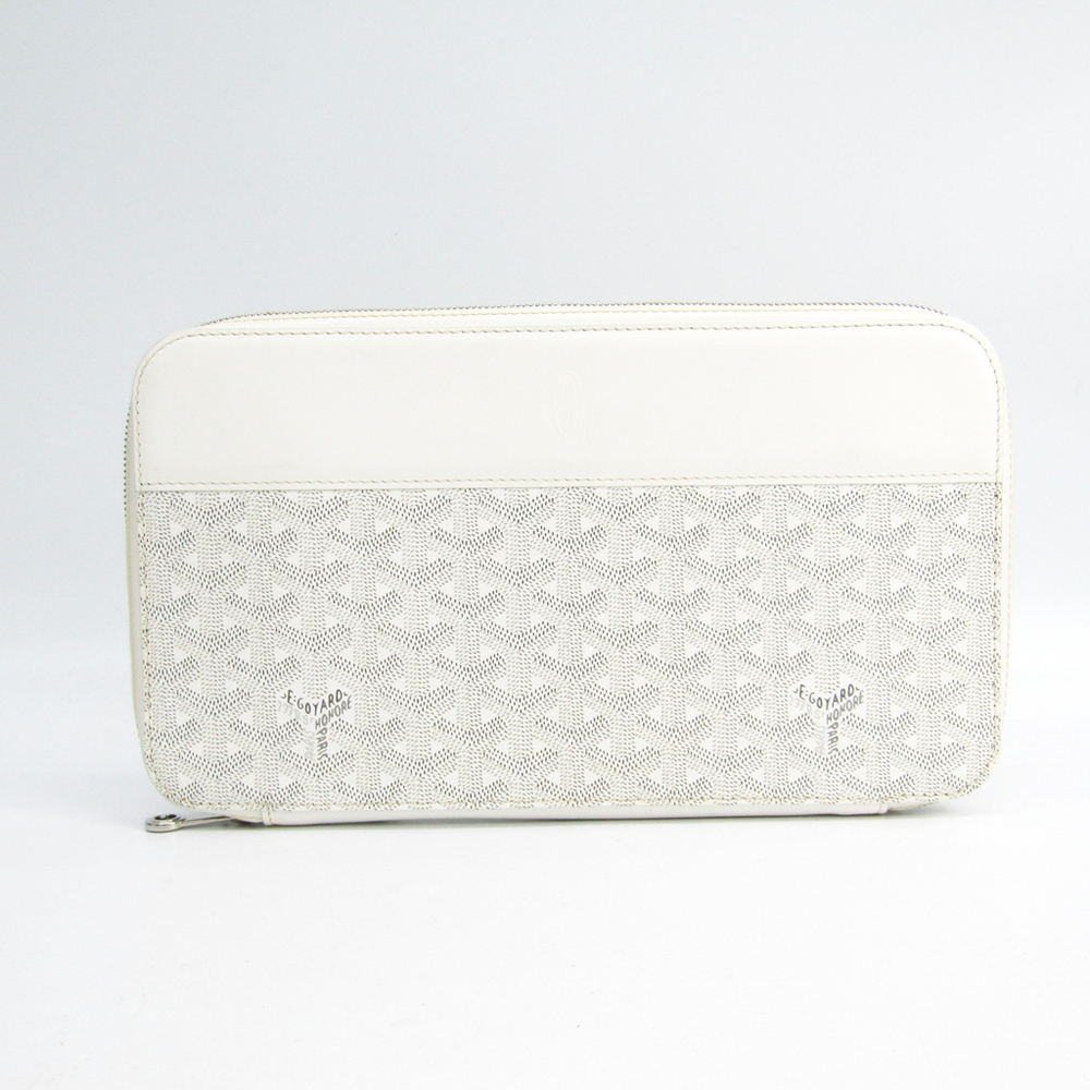 Goyard Opera Organizer Men's Canvas,Leather Long Wallet (bi-fold) White