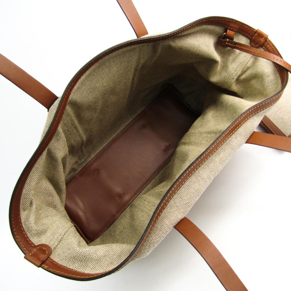 a6e70bc51b0 Burberry 3801086 Women's Canvas,Leather Tote Bag Gray,Brown   elady.com