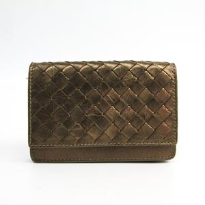Bottega Veneta Intrecciato Leather Card Case Gold Brown 133945