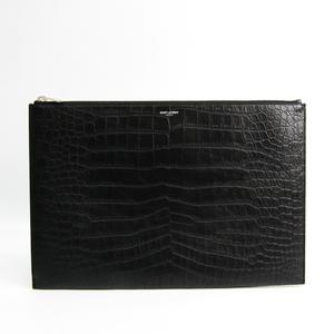 Saint Laurent 378261 Men's Leather Clutch Bag Black
