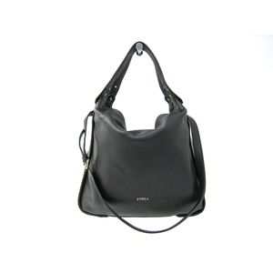 FURLA Eva Hobo Shoulder Bag Leather Black 834952