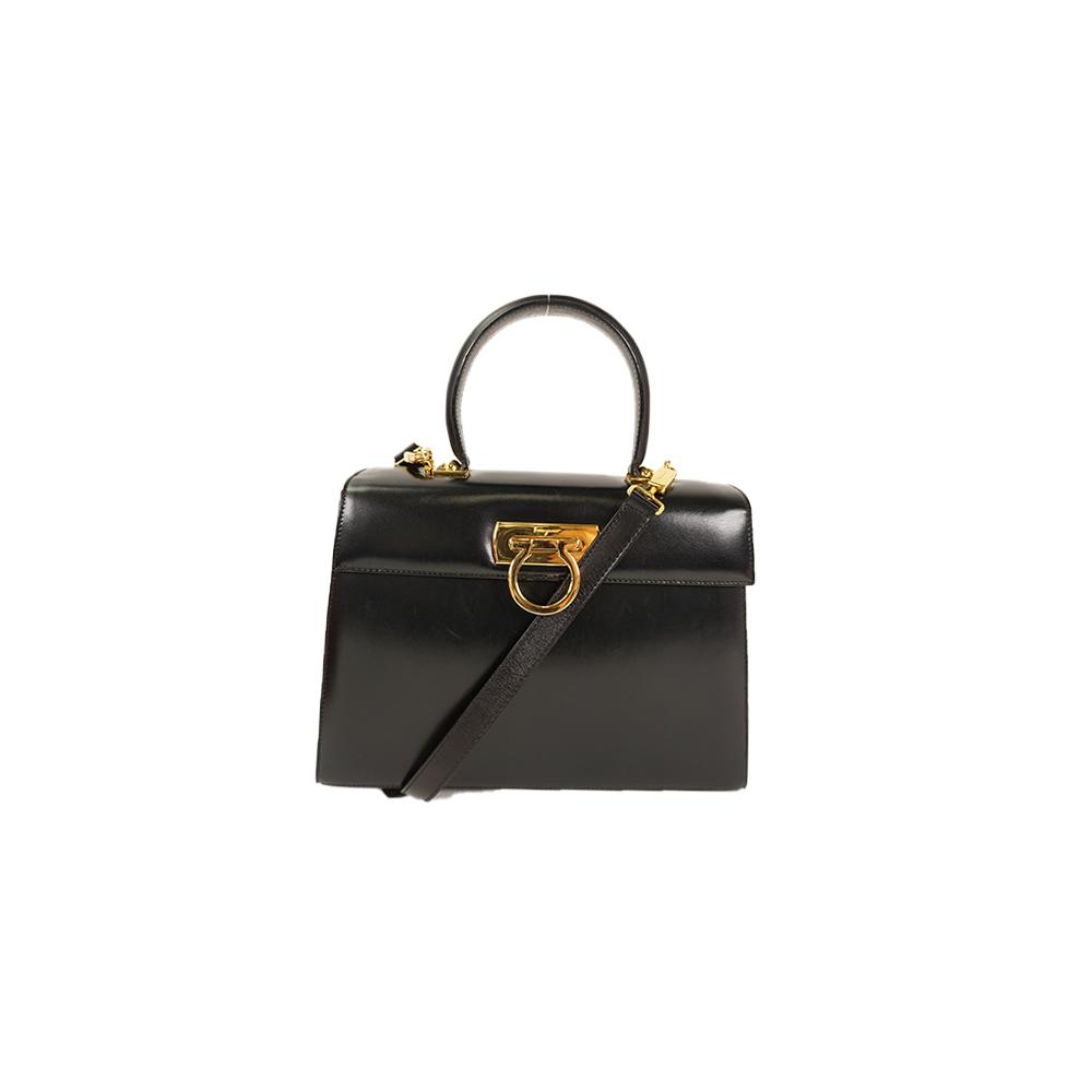 be7ce5098d26 Auth Salvatore Ferragamo Gancini 2way Bag Leather Handbag