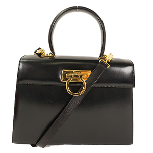 Auth Salvatore Ferragamo Gancini 2way Bag Leather Handbag,Shoulder