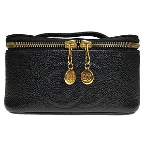 シャネル(Chanel) キャビア・スキン ミニバニティバッグ  レザー 化粧ポーチ ブラック