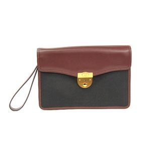 ALFRED DUNHILL Clutch Bag Leather/Canvas Black/Brown LI983