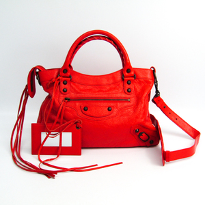 Balenciaga Town 240579 Women's Leather Handbag Orange Red