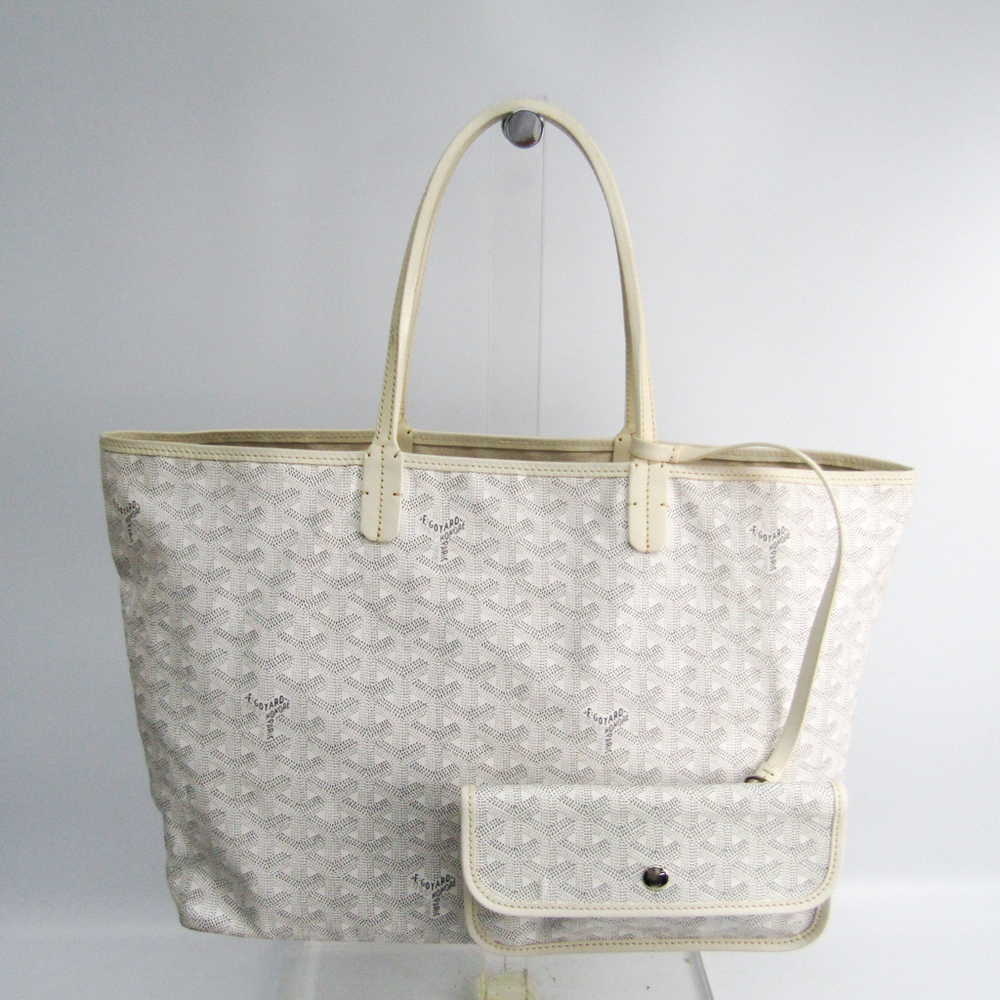 Goyard Saint Louis Saint Louis PM Women's Leather,Canvas Tote Bag White
