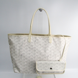 Goyard Saint Louis Saint Louis PM Women's Leather,Canvas Tote Bag White