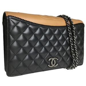シャネル(Chanel) マトラッセ シングルチェーン ショルダーバッグ ブラック ブラウン
