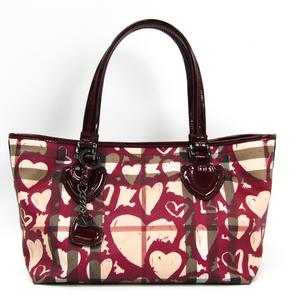 Burberry Women's PVC,Patent Leather Tote Bag Beige,Bordeaux