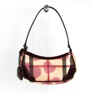 Burberry Heart Print Women's PVC,Patent Leather Shoulder Bag Beige,Bordeaux