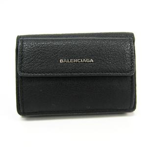 Balenciaga Essential Mini Wallet 410133 Women's Leather Wallet (tri-fold) Black