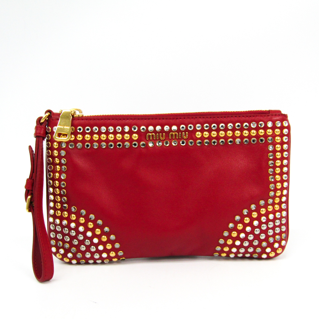 Details about Miu Miu 5N1811 Women s Leather Studded Clutch Bag,Pouch Red  BF331349 bd1d7a5d97
