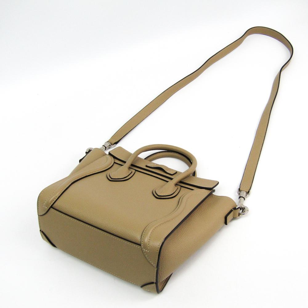 a142be2fb4ec Celine Luggage Nano Shopper 168243 Women s Leather Handbag Beige