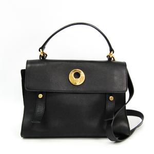 Saint Laurent Muse To 313499 Women's Leather,Canvas Handbag Black