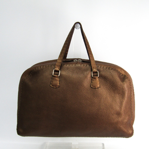 Fendi Selleria 8BN015 Women's Leather Handbag Bronze