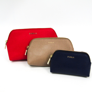 Furla 3-piece Set Leather Pouch Beige,Navy,Red