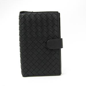 Bottega Veneta Intrecciato 121060 Women's  Lamb Leather Middle Wallet (bi-fold) Black