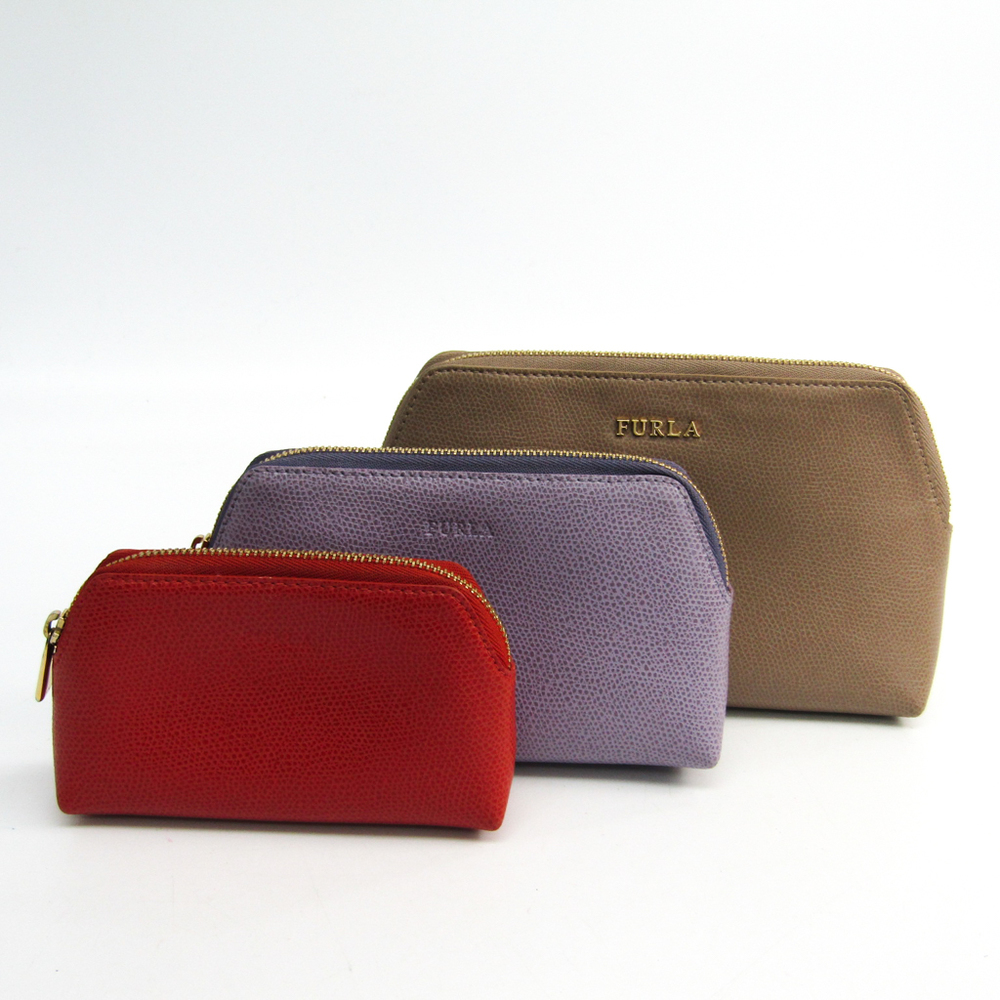 Furla 3-piece Set Leather Pouch Beige,Orange,Purple