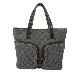 Auth Gucci Tote Bag GG Canvas 105650 Women's Black