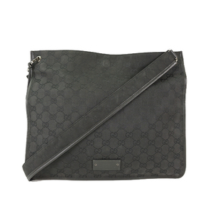 Auth Gucci Shoulder Bag GG Canvas 90656 Black Men′s Woman′s