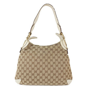 Auth Gucci One Shoulder Bag GG Canvas 145826 White Brown Beige