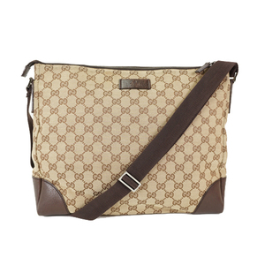 Auth Gucci Shoulder Bag GG Canvas 110054 Beige Brown Woman's